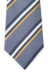 Canali Tie Midnight Blue Gray Silver Geometric
